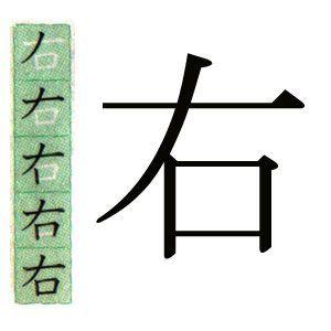 KANJI JAPONES DERECHA,右の漢字。ハポネスカのスペイン語で説明。