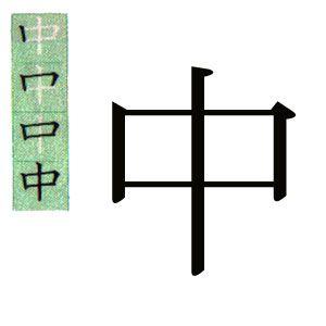 kanji japones: dentro, centro.スペイン語で中というの漢字。
