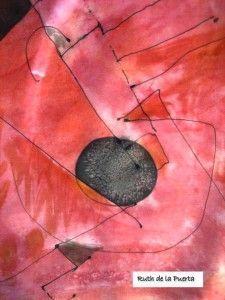 Ruth de la Puerta con japonesca. 手で描いた絹でスペイン製ファッション。