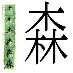 ideograma o kanji japones: bosque.ハポネスカよりスペイン語で森というの漢字