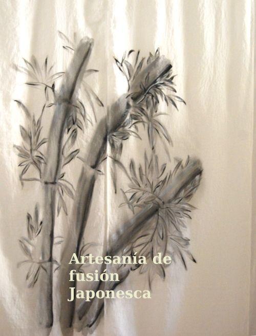 """Cortina noren para pasillo o puerta en tela de visillo """"bambú""""."""