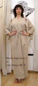 yukata algodon beige por Japonesca