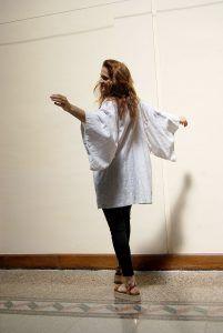 kimono blanco de lino