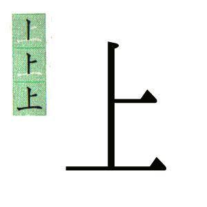 KANJI JAPONES: ARRIBA. 上。ハポネスカの一年生の漢字。