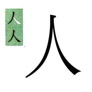 kanji japones: persona, gente.スペイン語で人の漢字。