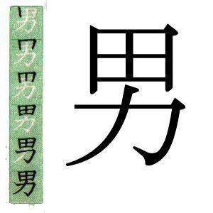 kanji japones: hombre.スペイン語で男というの漢字。