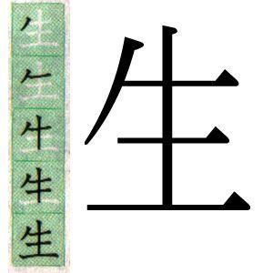 Kanji japones: Nacer. Vivir. スペイン語で生の漢字。