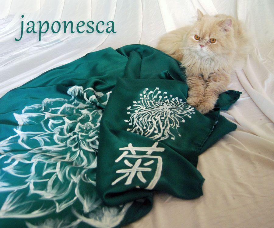Pañuelo furoshiki sen seda verde . Crisantremo.