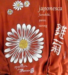 Margarita, en este furoshiki, pintado a mano por Japonesca.