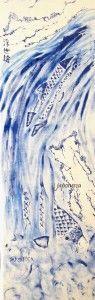 Vista completa del kakemono creado por Japonesca a partir del grabado de carpas de Hokusai