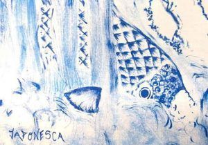 Detalle de la recreación del grabado de Hokusai de carpas en el río.