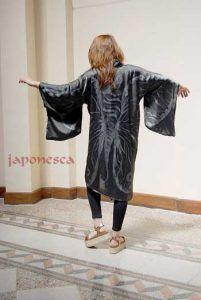 kimono seda pintado a mano