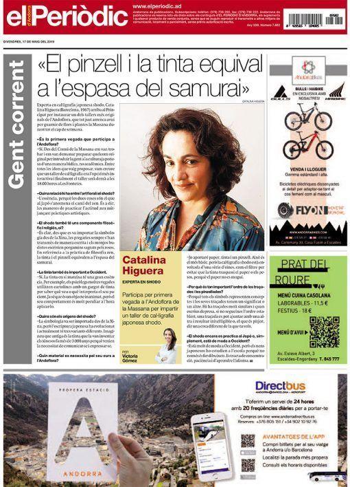 Entrevista sobre shodo a Japonesca en el Periódico de Andorra