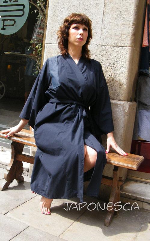yuukata Japonesca en algodón azul marino